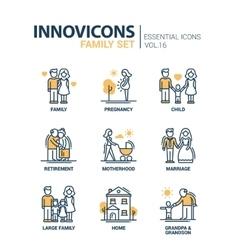 Family - line design icons set vector
