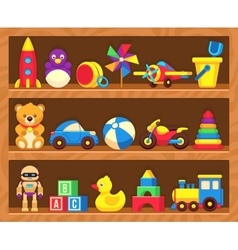 Kids toys on wood shop shelves vector image