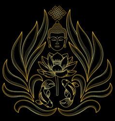 Gold buddha pattern vector