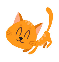 Cute and funny red cat character fawning asking vector