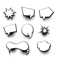 Collection comic text blank template speech bubble vector