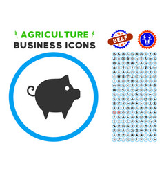Piggy rounded icon with set vector
