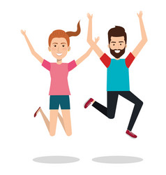 People celebrating with a leap vector
