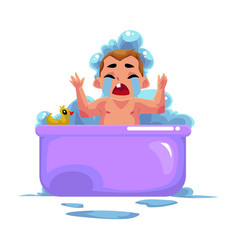 Baby kid infant child crying in bath unwilling vector