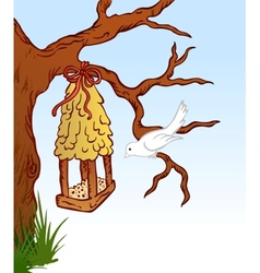 Bird and tree hous vector image