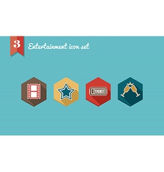 Entertainment flat icons set vector
