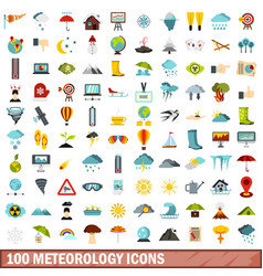 100 meteorology icons set flat style vector