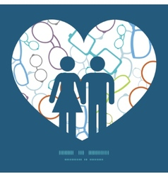 Colorful glasses couple in love silhouettes vector