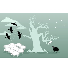 Odd bird and black sheep vector
