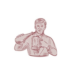 Man pouring beer mug etching vector