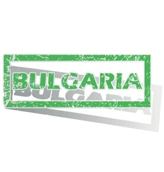 Green outlined bulgaria stamp vector