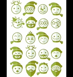Icons set 20 smiles winter green half vector