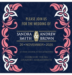 Floral wedding invitation vector