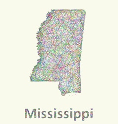 Mississippi line art map vector
