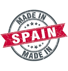 Made in spain red round vintage stamp vector