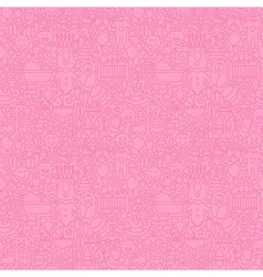 Thin Line Pink Baby Girl Seamless Pattern vector image