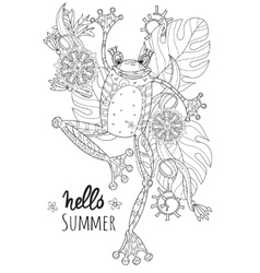 Cute frog prince in summer flowers vector