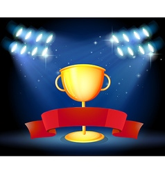 Golden trophy and red ribbon vector