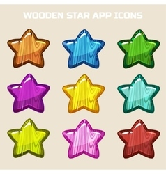 Cartoon wooden stars in different colors vector