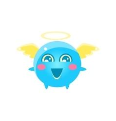Angel round character emoji vector