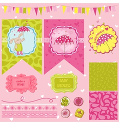 Baby bunny shower theme vector
