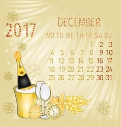 Calendar December 2017 and New Year vector image