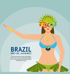 Carnival rio garota card vector