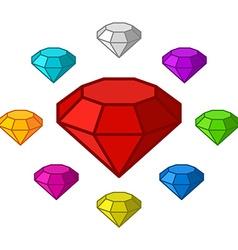 Cartoon diamonds icons set vector image vector image