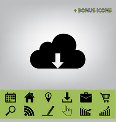 Cloud technology sign black icon at gray vector