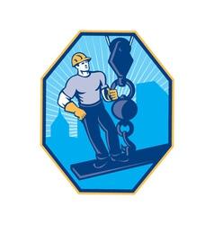 Construction worker i-beam girder ball hook vector