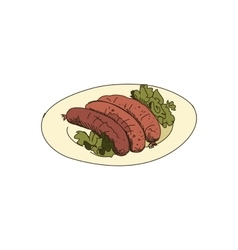 doodle grilled sausages vector image vector image