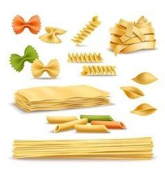 Dry pasta assortment realistic icons set vector