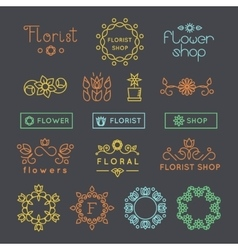 Floral gardening and flower shop logos labels vector