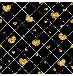 Golden hearts rhombus seamless pattern vector