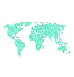 Green world map from different points vector