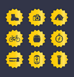 hiking camping icons set vector image
