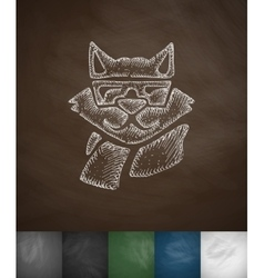 Hipster raccoon icon hand drawn vector