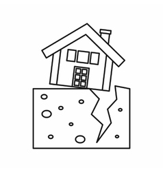 House after an earthquake icon outline style vector