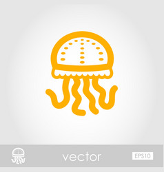 Jellyfish outline icon summer vacation vector