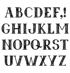 Latin alphabet grunge line font hipsters character vector