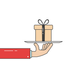 linear hand in suit holding gift box on dish vector image