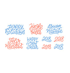 merry christmas and happy new year line art text vector image