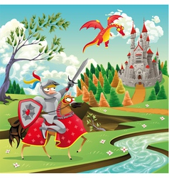 Panorama with medieval castle dragon and knight vector image
