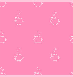 Pink piggy bank seamless pattern vector