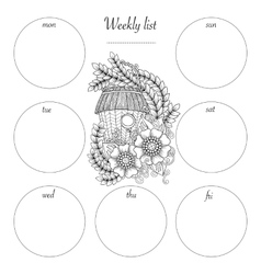 Planner design and hand drawn coloring page black vector