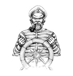 sailor at helm drawing vector image