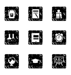 Schoolhouse icons set grunge style vector image vector image