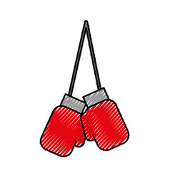 Scribble hanging boxing gloves vector