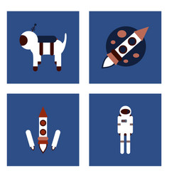 Set of space icons with rocket equipments for vector