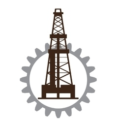 Silhouette of oil drilling in gear vector image vector image